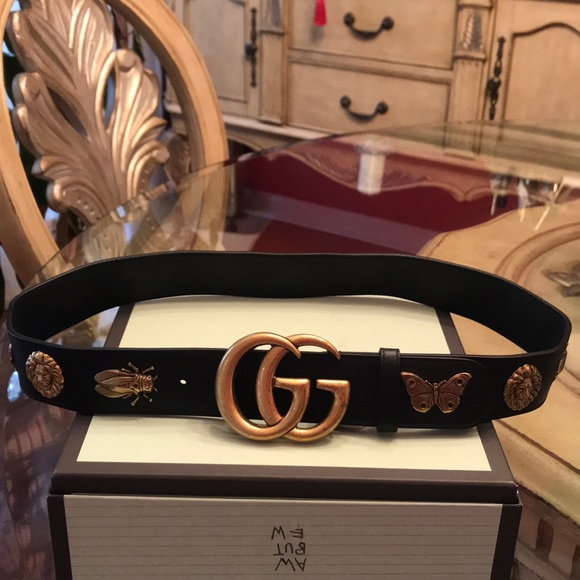 0db6a28ad91 Gucci Leather GG Belt (With animal studs)